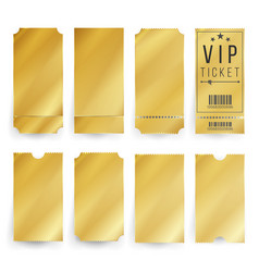 Vip ticket template empty golden tickets vector