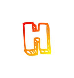 Warm gradient line drawing cartoon letter h vector