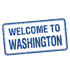 welcome to Washington blue grunge square stamp vector image