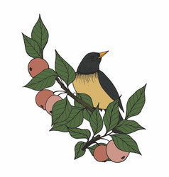 With a bird and apple tree branches vector