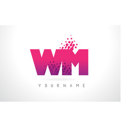 Wm w m letter logo with pink purple color and vector