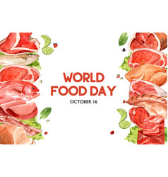 World food day frame design with meat fish vector