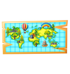 Worldmap with ship and balloon vector