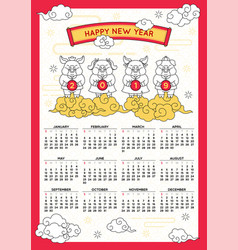 year pic calendar comic style vector image