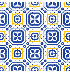 blue and white mediterranean seamless ceramic tile vector image