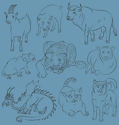 Bull-cat-dog-goat-dragon-pig-rat-sheep-tiger vector