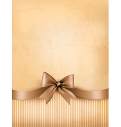 Retro background with old paper and gift bow and vector image vector image