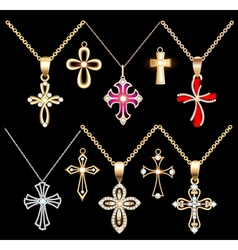 Set gold and silver cross pendant vector