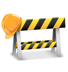 Under Construction Barrier with Helmet vector image vector image