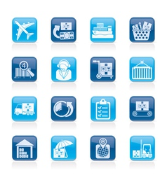 logistic and shipping icons vector image vector image
