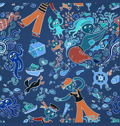 pattern in the marine style children background vector image vector image