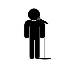 Stick man say into microphone vector