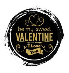 sweet valentines day gold banner on black grunge vector image vector image