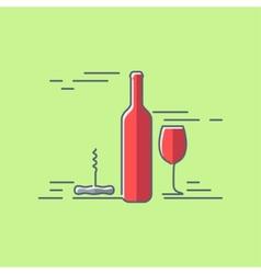 wine glass bottle flat design background vector image