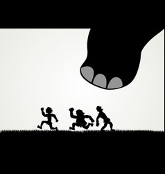 funny cartoon of men fleeing panic from a giant vector image