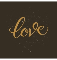 Golden hand lettering of the word LOVE vector image vector image