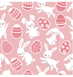 happy easter seamless patten with cute vector image vector image