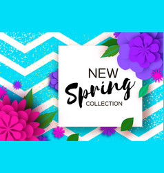 new spring collection paper cut flower 8 march vector image
