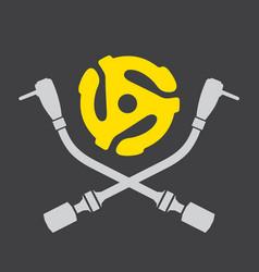 vinyl record dj logo vector image vector image