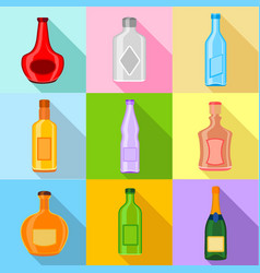 empty bottles icons set flat style vector image vector image