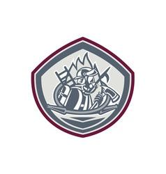 Fireman Axe Hose Hook Pike Pole Shield vector image vector image