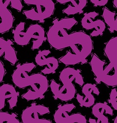 Violet dollar signs seamless pattern geometric vector image