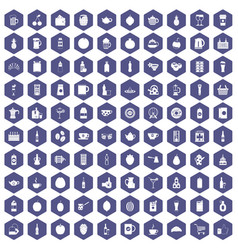 100 beverage icons hexagon purple vector