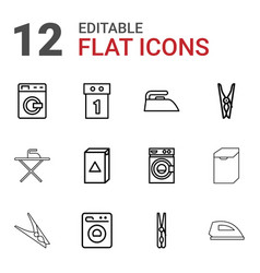 12 laundry icons vector