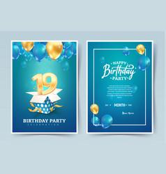 19th years birthday invitation double card vector