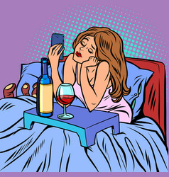 A woman drinks wine alone vector