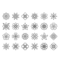 Abstract flower simple black line icons set vector