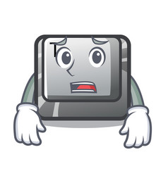 Afraid button t in keyboard cartoon vector