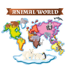 Animals in different parts of the world on map vector