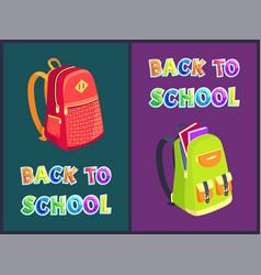 Back to school satchels set vector