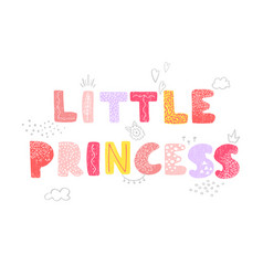 Bird and hand drawn lettering - little princess vector
