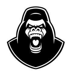 Black and white emblem of a gorilla on the white vector