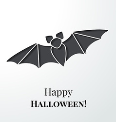 Black cutout bat Halloween card or background vector image