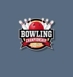bowling championship emblem vector image