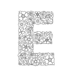 Capital letter e patterned with abstract flowers vector