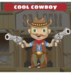 cartoon character wild west - cool cowboy vector image