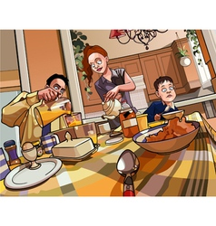 Cartoon family breakfast table vector
