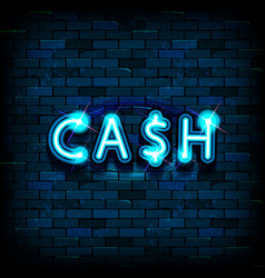 cash neon text vector image