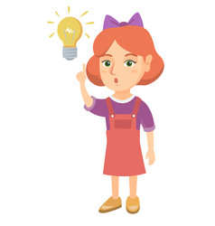 caucasian little girl pointing at the lightbulb vector image