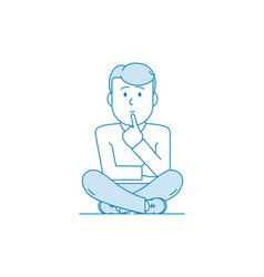 Character is a man sit pondering a problem vector
