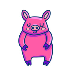 charming cartoon pig in pink color vector image