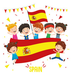 children holding spain flag vector image