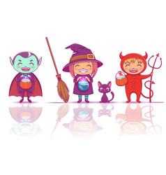 children in halloween costumes of witch vampire vector image