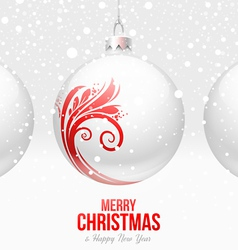 Christmas White baubles with red decor vector image