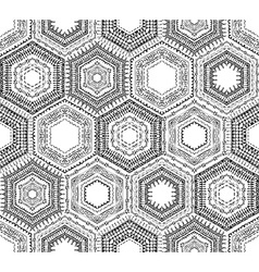 Crochet seamless hexagons pattern vector image