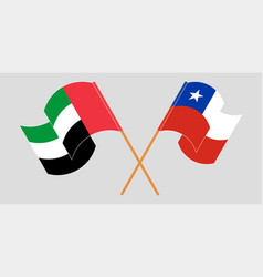 Crossed flags chile and united arab vector